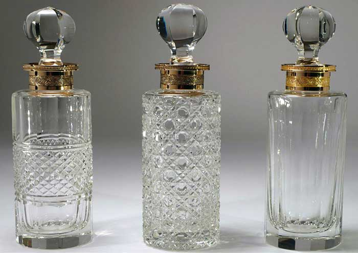 Collectable ART Deco Empty Perfume Bottles Clear Crystal Glass