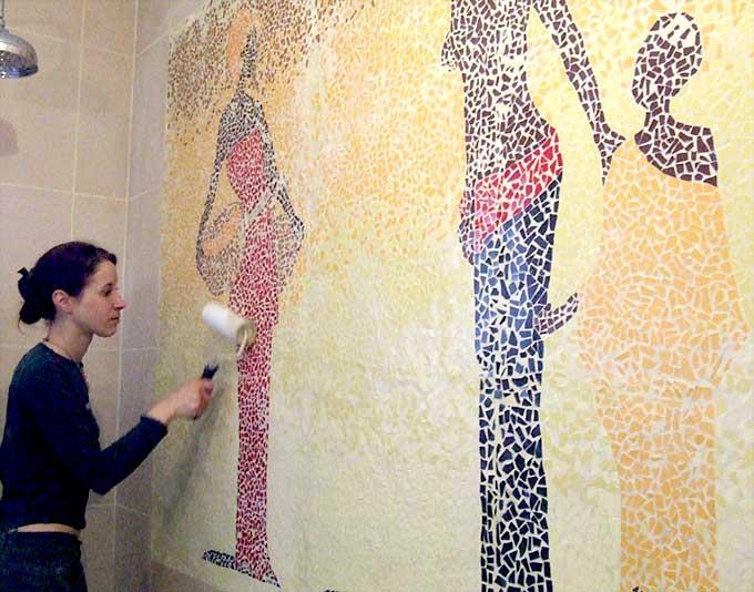 Decoration d interieur decoration murale mosaique julie berge - Decoration murale pour salle de bain ...