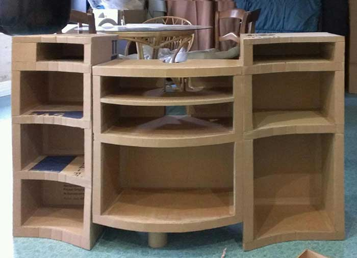 mobilier en carton creation par martine connay. Black Bedroom Furniture Sets. Home Design Ideas