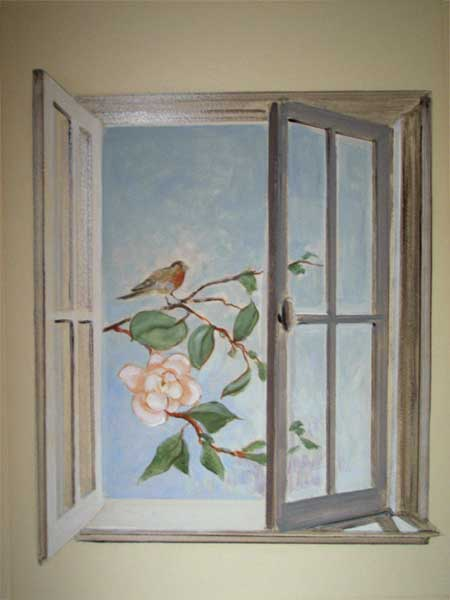 Trompe l oeil deco peintre en decor languedoc roussillon for Decoration fausse fenetre