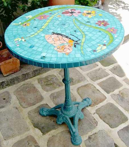 Table rabattable cuisine paris roulette table basse - Table de jardin ronde dessus mosaique ...
