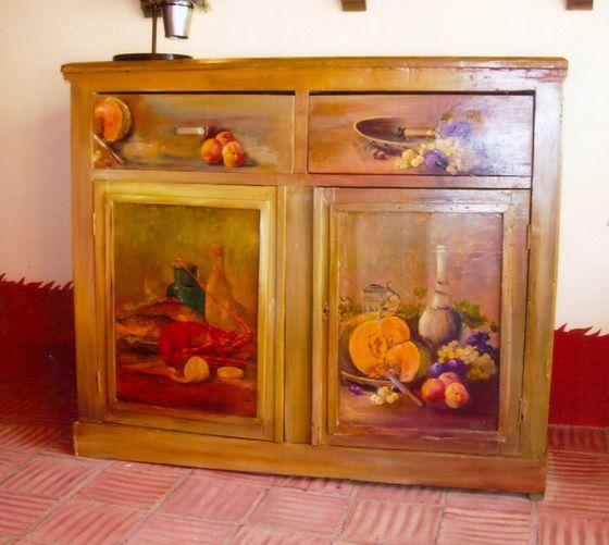 Meubles peints decoration faux bois faux marbre trompe for Decoration sur meuble en bois