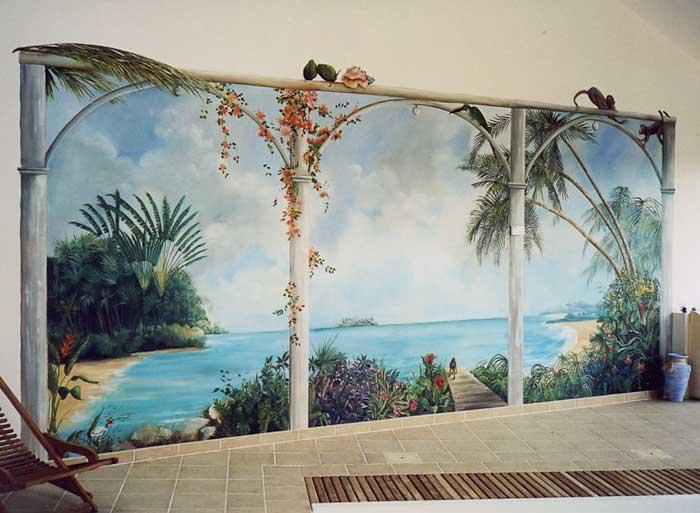 Peinture panoramique trompe l 39 oeil panoramique for Decoration trompe l oeil