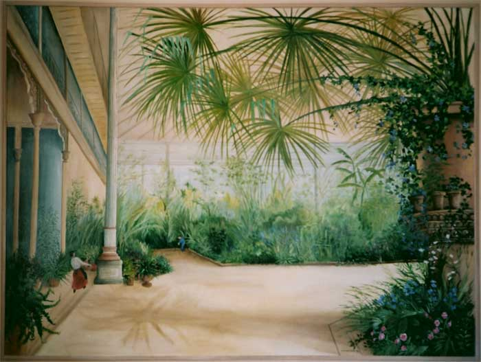 peinture panoramique trompe l 39 oeil panoramique decoration murale odile jacenko rigaudiere. Black Bedroom Furniture Sets. Home Design Ideas