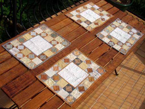Art textile patchwork creation shelly for Set de table paille